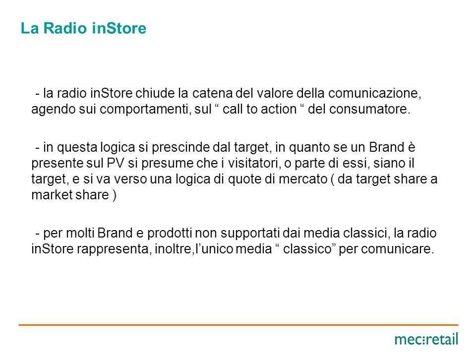 La Radio inStore OBIETTIVI DI COMUNICAZIONE E MARKETING - per i Produttori presenti nei PV, la radio inStore rappresenta un forte veicolo per coinvolgere i consumatori, con lobiettivo di orientare le decisioni di acquisto, favorendo il sell-out.