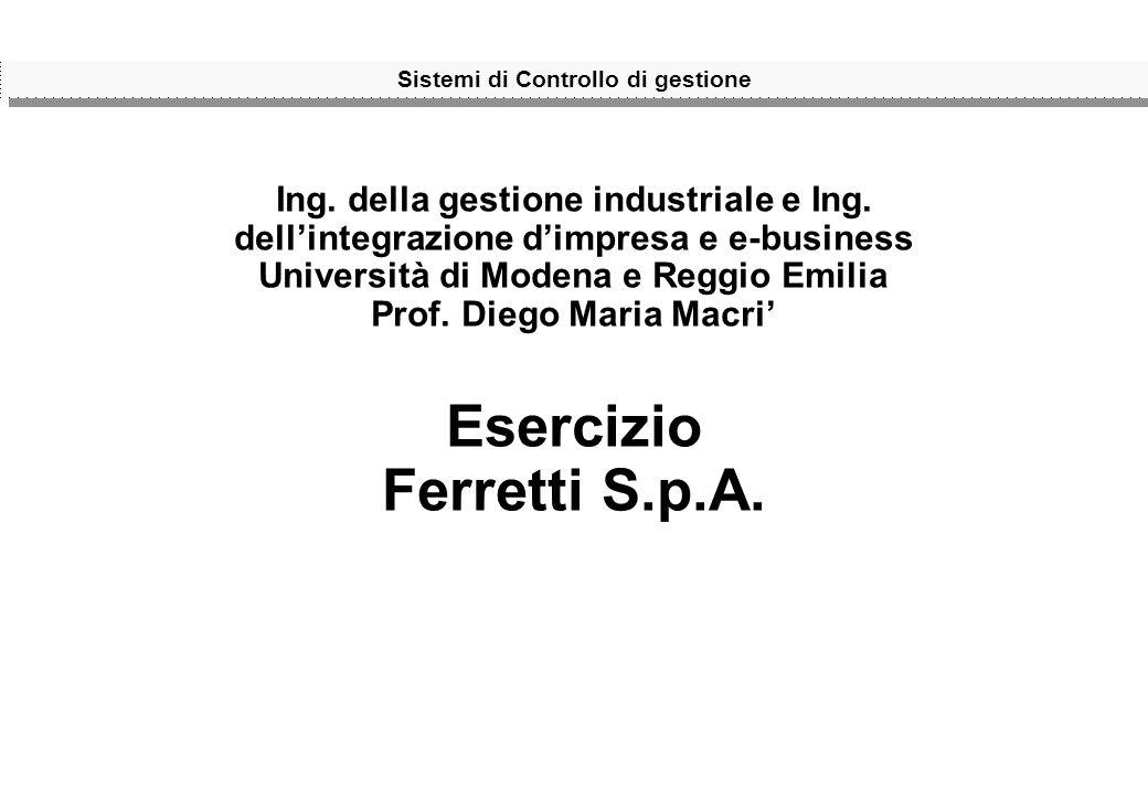 Sistemi di Controllo di gestione Ing. della gestione industriale e Ing. dellintegrazione dimpresa e e-business Università di Modena e Reggio Emilia Pr