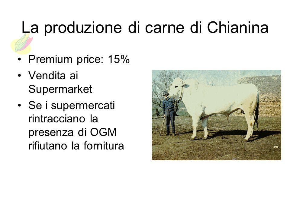 La produzione di carne di Chianina Premium price: 15% Vendita ai Supermarket Se i supermercati rintracciano la presenza di OGM rifiutano la fornitura