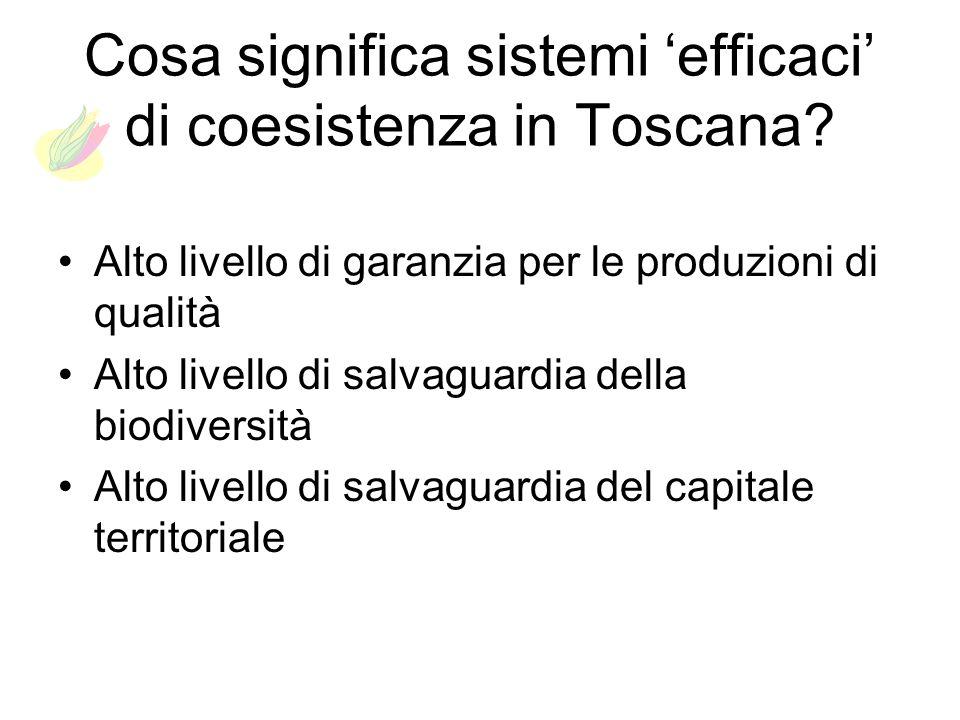 Cosa significa sistemi efficaci di coesistenza in Toscana? Alto livello di garanzia per le produzioni di qualità Alto livello di salvaguardia della bi