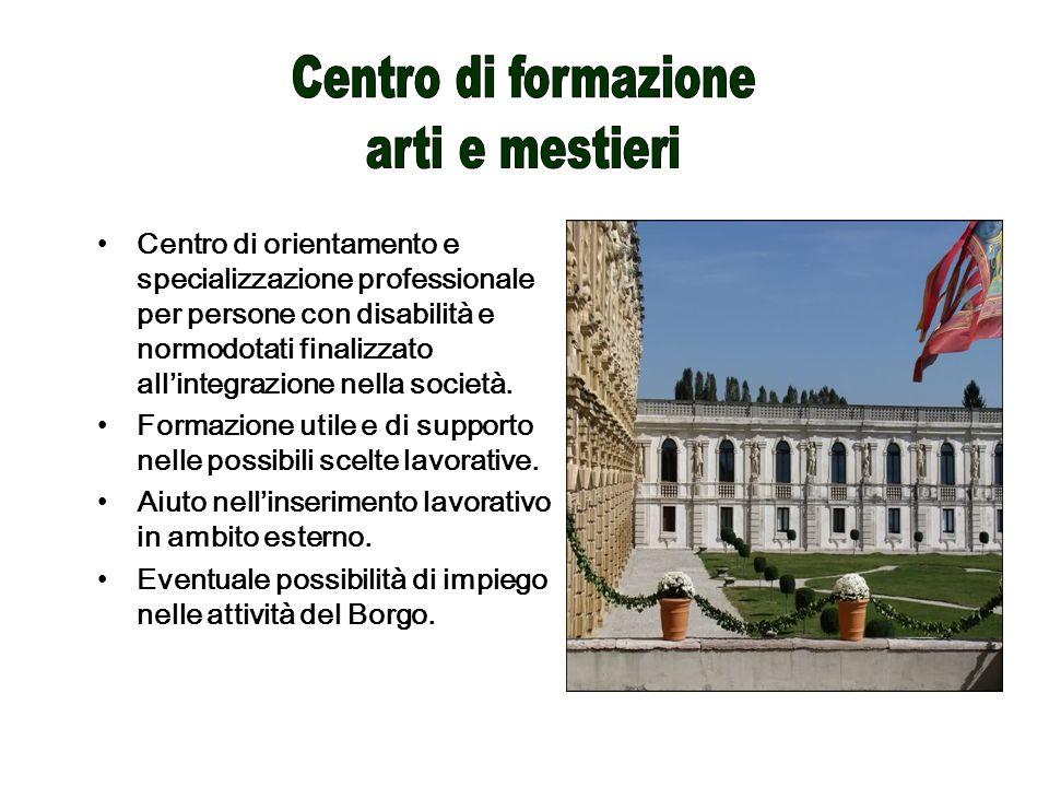 Centro di orientamento e specializzazione professionale per persone con disabilità e normodotati finalizzato allintegrazione nella società.