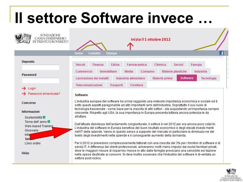 Il settore Software invece …