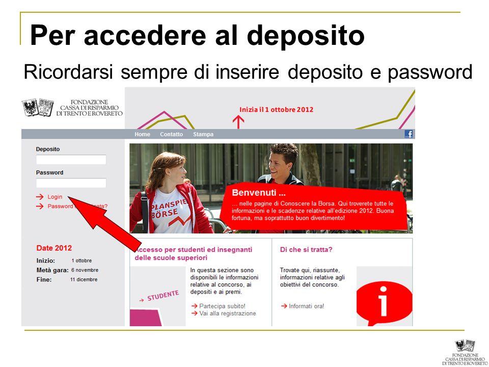 Per accedere al deposito Ricordarsi sempre di inserire deposito e password
