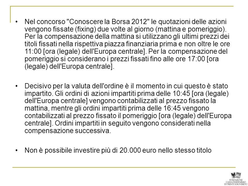 Nel concorso Conoscere la Borsa 2012 le quotazioni delle azioni vengono fissate (fixing) due volte al giorno (mattina e pomeriggio).