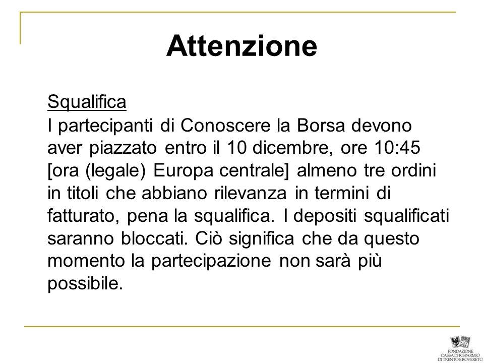 Attenzione Squalifica I partecipanti di Conoscere la Borsa devono aver piazzato entro il 10 dicembre, ore 10:45 [ora (legale) Europa centrale] almeno