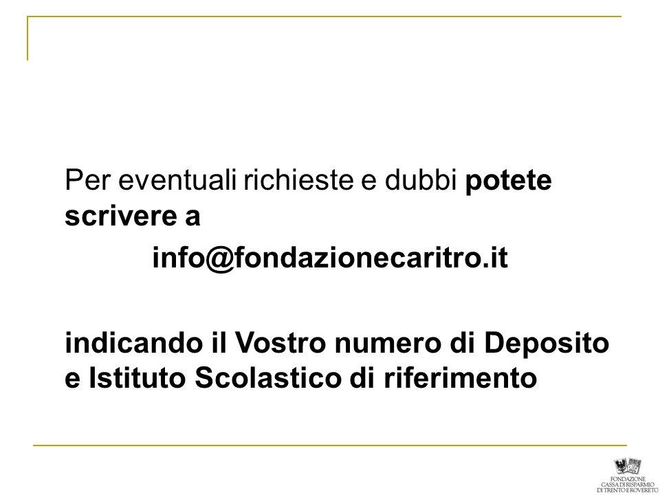 Per eventuali richieste e dubbi potete scrivere a info@fondazionecaritro.it indicando il Vostro numero di Deposito e Istituto Scolastico di riferimento