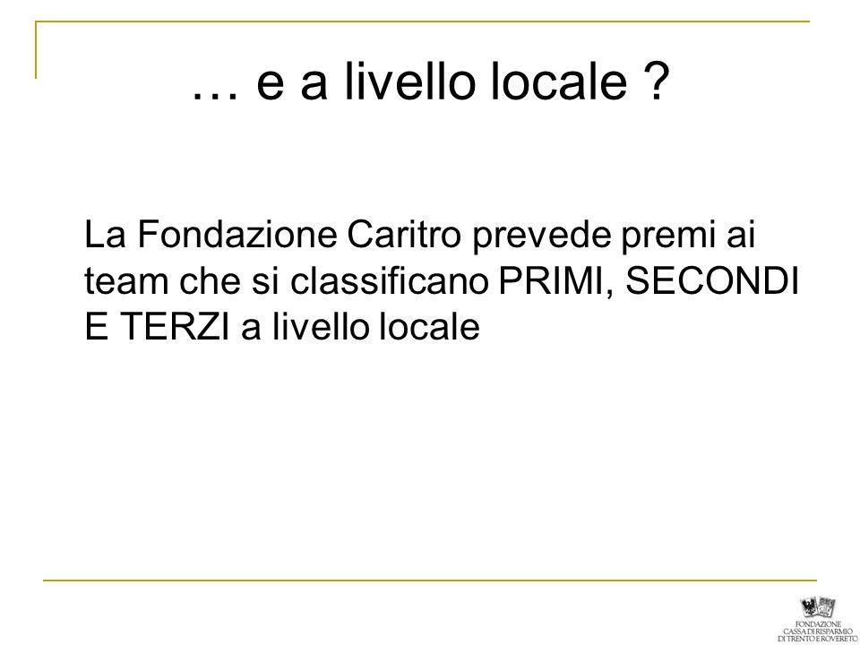 … e a livello locale ? La Fondazione Caritro prevede premi ai team che si classificano PRIMI, SECONDI E TERZI a livello locale