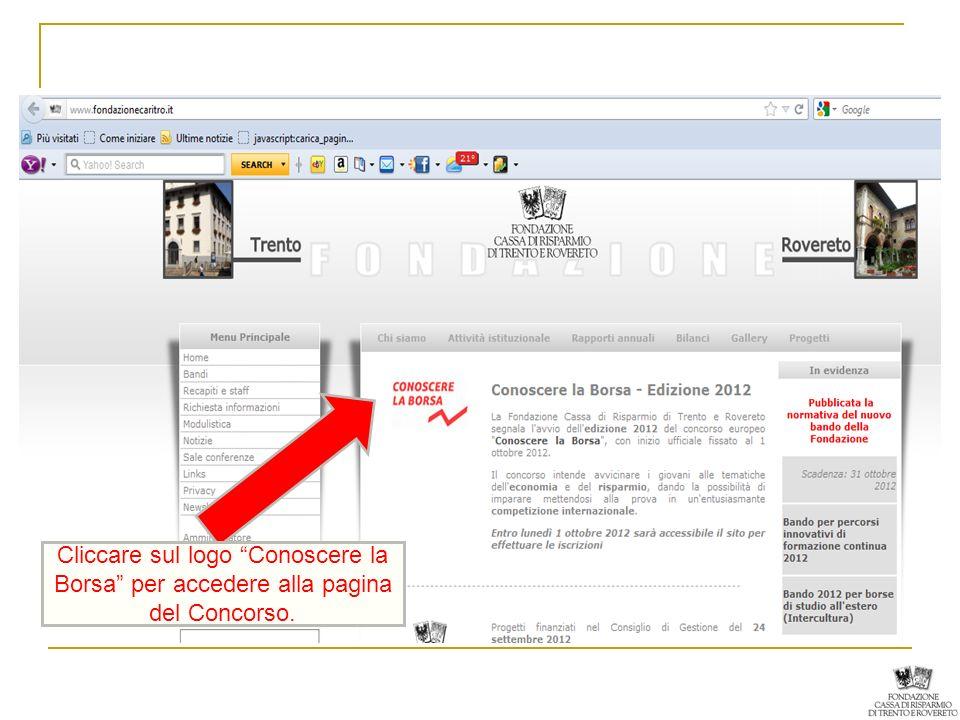 Cliccare sul logo Conoscere la Borsa per accedere alla pagina del Concorso.
