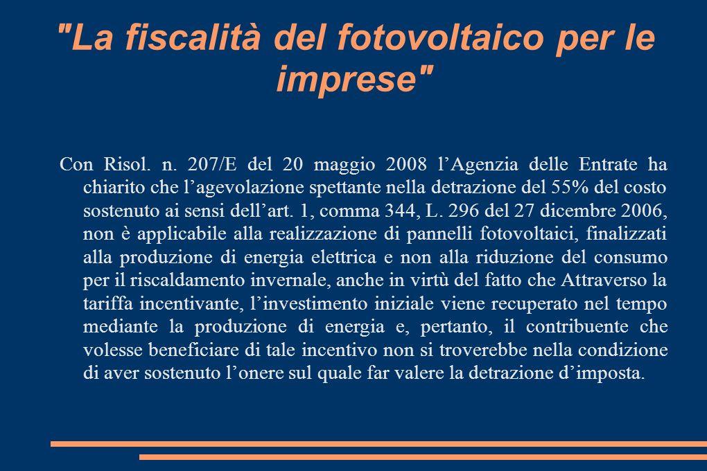 La fiscalità del fotovoltaico per le imprese Con Risol.