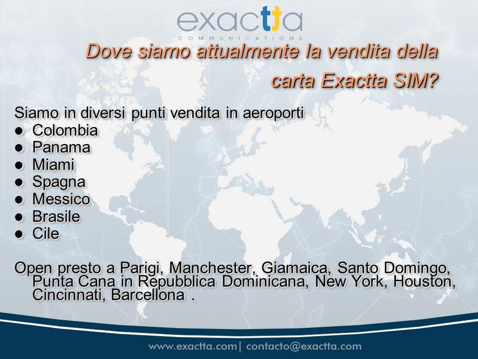 Dove siamo attualmente la vendita della carta Exactta SIM? Siamo in diversi punti vendita in aeroporti Colombia Colombia Panama Panama Miami Miami Spa