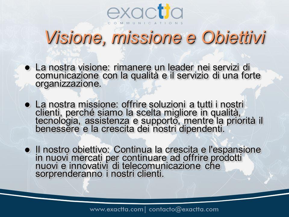 Visione, missione e Obiettivi La nostra visione: rimanere un leader nei servizi di comunicazione con la qualità e il servizio di una forte organizzazione.
