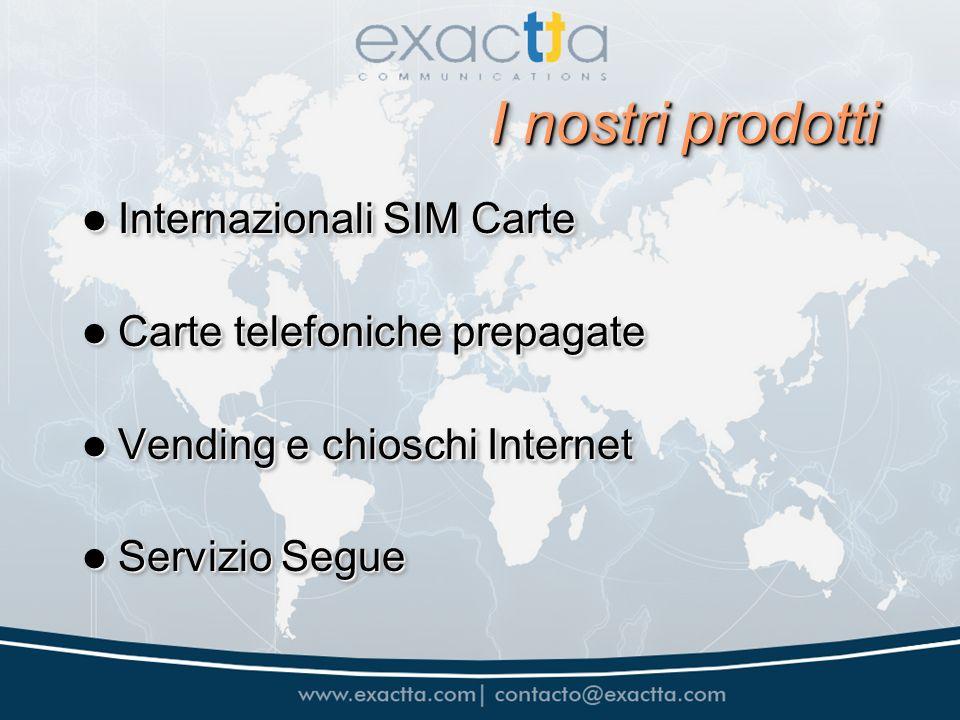 I nostri prodotti Internazionali SIM Carte Internazionali SIM Carte Carte telefoniche prepagate Carte telefoniche prepagate Vending e chioschi Interne