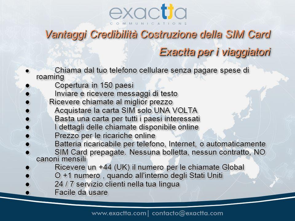 Vantaggi Credibilità Costruzione della SIM Card Exactta per i viaggiatori Vantaggi Credibilità Costruzione della SIM Card Exactta per i viaggiatori Ch