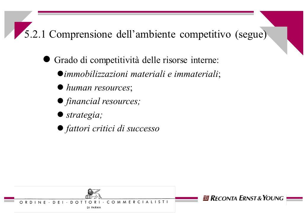 l Grado di competitività delle risorse interne: limmobilizzazioni materiali e immateriali; l human resources; l financial resources; l strategia; l fa