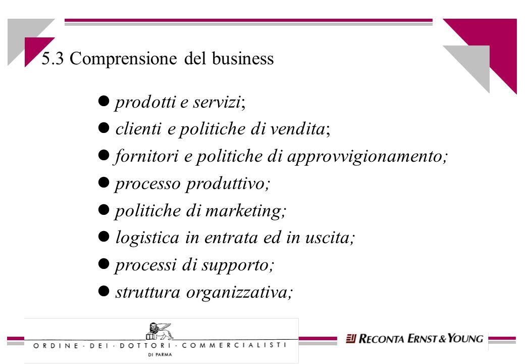 l prodotti e servizi; l clienti e politiche di vendita; l fornitori e politiche di approvvigionamento; l processo produttivo; l politiche di marketing