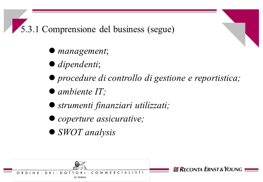 l management; l dipendenti; l procedure di controllo di gestione e reportistica; l ambiente IT; l strumenti finanziari utilizzati; l coperture assicurative; l SWOT analysis 5.3.1 Comprensione del business (segue)