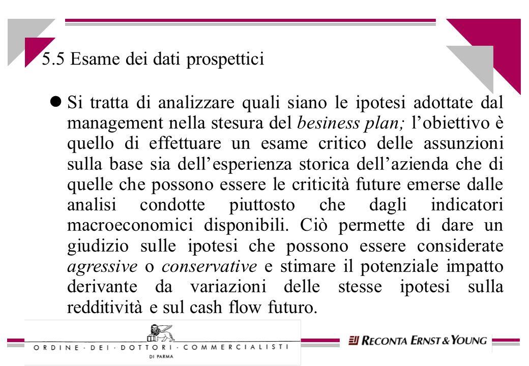 5.5 Esame dei dati prospettici lSi tratta di analizzare quali siano le ipotesi adottate dal management nella stesura del besiness plan; lobiettivo è q