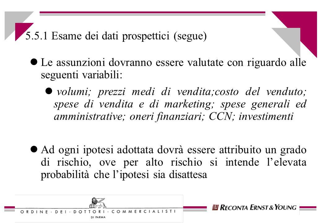 5.5.1 Esame dei dati prospettici (segue) lLe assunzioni dovranno essere valutate con riguardo alle seguenti variabili: l volumi; prezzi medi di vendit
