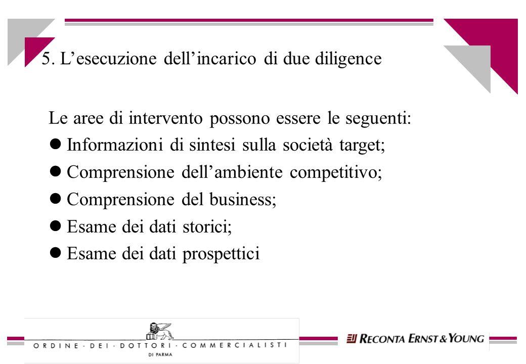 5.1 Informazioni di sintesi sulla società target Le aree di interesse sono normalmente le seguenti: lStruttura del Gruppo; lAttività svolta; lDislocazione geografica; lStruttura organizzativa; lSintesi riepilogativa degli indicatori chiave (KPI)