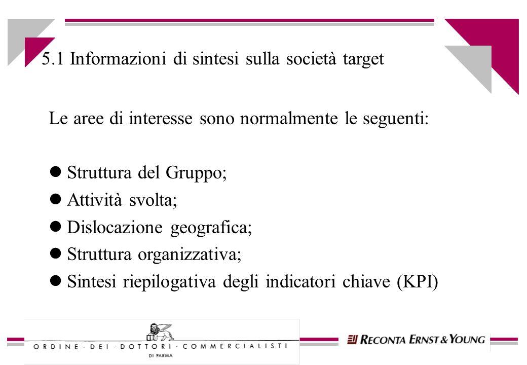 5.1 Informazioni di sintesi sulla società target Le aree di interesse sono normalmente le seguenti: lStruttura del Gruppo; lAttività svolta; lDislocaz