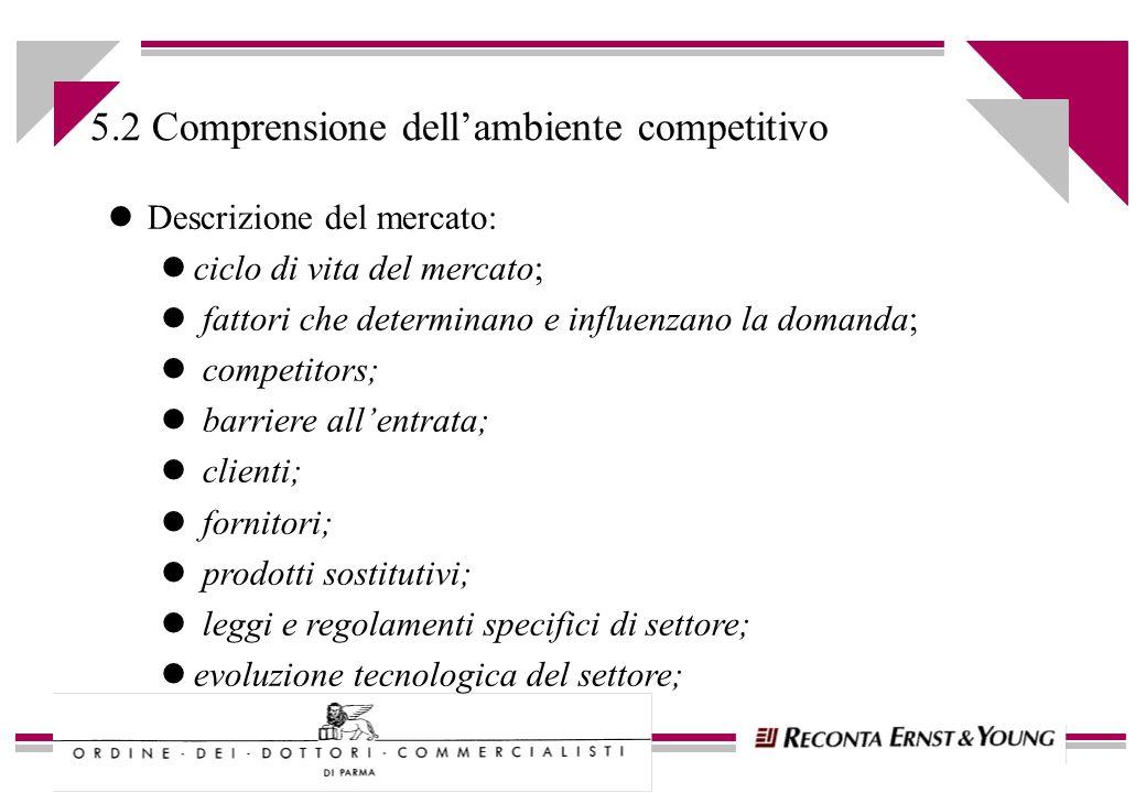 l Grado di competitività delle risorse interne: limmobilizzazioni materiali e immateriali; l human resources; l financial resources; l strategia; l fattori critici di successo 5.2.1 Comprensione dellambiente competitivo (segue)