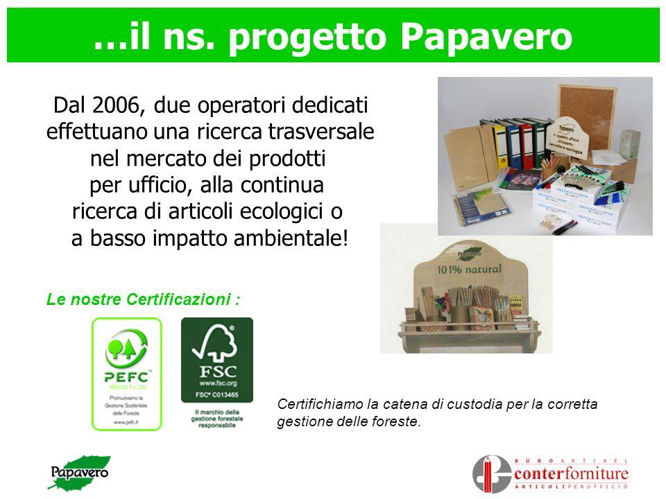 …il ns. progetto Papavero Dal 2006, due operatori dedicati effettuano una ricerca trasversale nel mercato dei prodotti per ufficio, alla continua rice