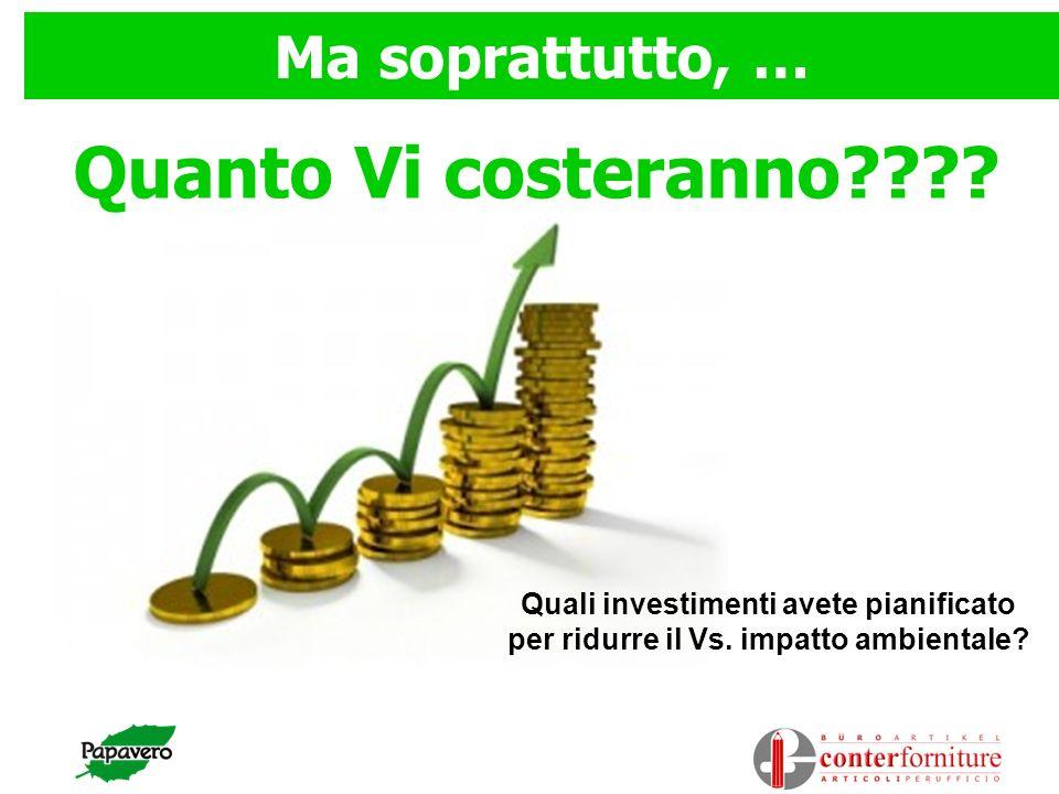 Quanto Vi costeranno???? Ma soprattutto, … Quali investimenti avete pianificato per ridurre il Vs. impatto ambientale?