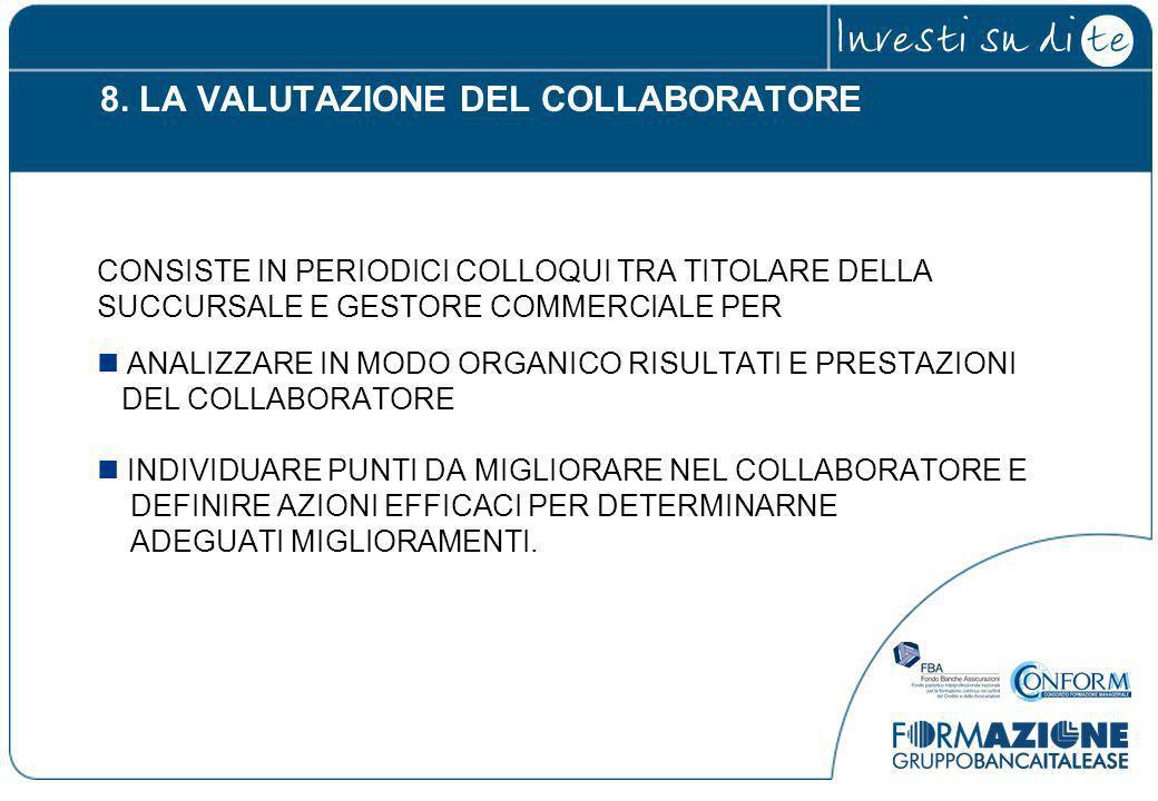 8. LA VALUTAZIONE DEL COLLABORATORE CONSISTE IN PERIODICI COLLOQUI TRA TITOLARE DELLA SUCCURSALE E GESTORE COMMERCIALE PER ANALIZZARE IN MODO ORGANICO
