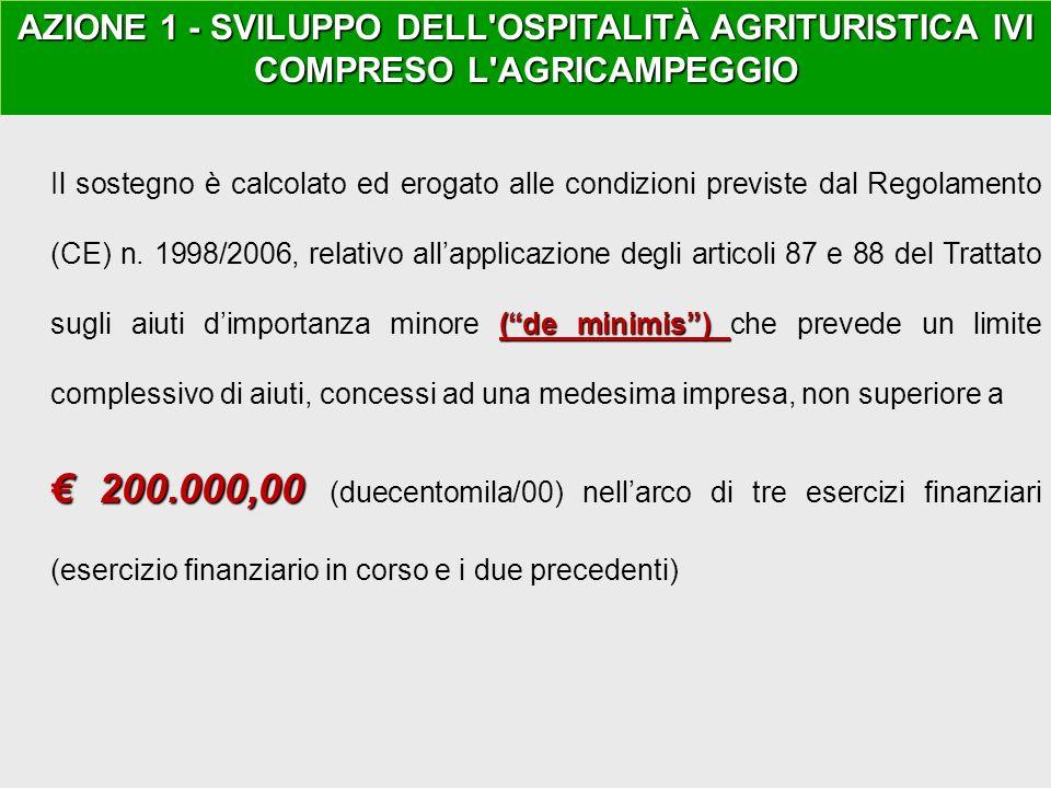 GAL ANGLONA ROMANGIA AZIONE 1 - SVILUPPO DELL OSPITALITÀ AGRITURISTICA IVI COMPRESO L AGRICAMPEGGIO (de minimis) Il sostegno è calcolato ed erogato alle condizioni previste dal Regolamento (CE) n.