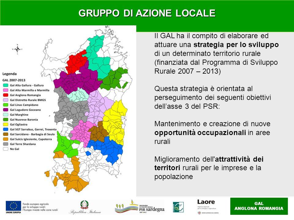 GAL ANGLONA ROMANGIA Il GAL ha il compito di elaborare ed attuare una strategia per lo sviluppo di un determinato territorio rurale (finanziata dal Programma di Sviluppo Rurale 2007 – 2013) Questa strategia è orientata al perseguimento dei seguenti obiettivi dellasse 3 del PSR: Mantenimento e creazione di nuove opportunità occupazionali in aree rurali Miglioramento dell attrattività dei territori rurali per le imprese e la popolazione GRUPPO DI AZIONE LOCALE