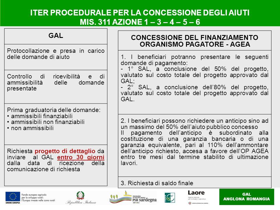 GAL ANGLONA ROMANGIA ITER PROCEDURALE PER LA CONCESSIONE DEGLI AIUTI MIS. 311 AZIONE 1 – 3 – 4 – 5 – 6 GAL Protocollazione e presa in carico delle dom
