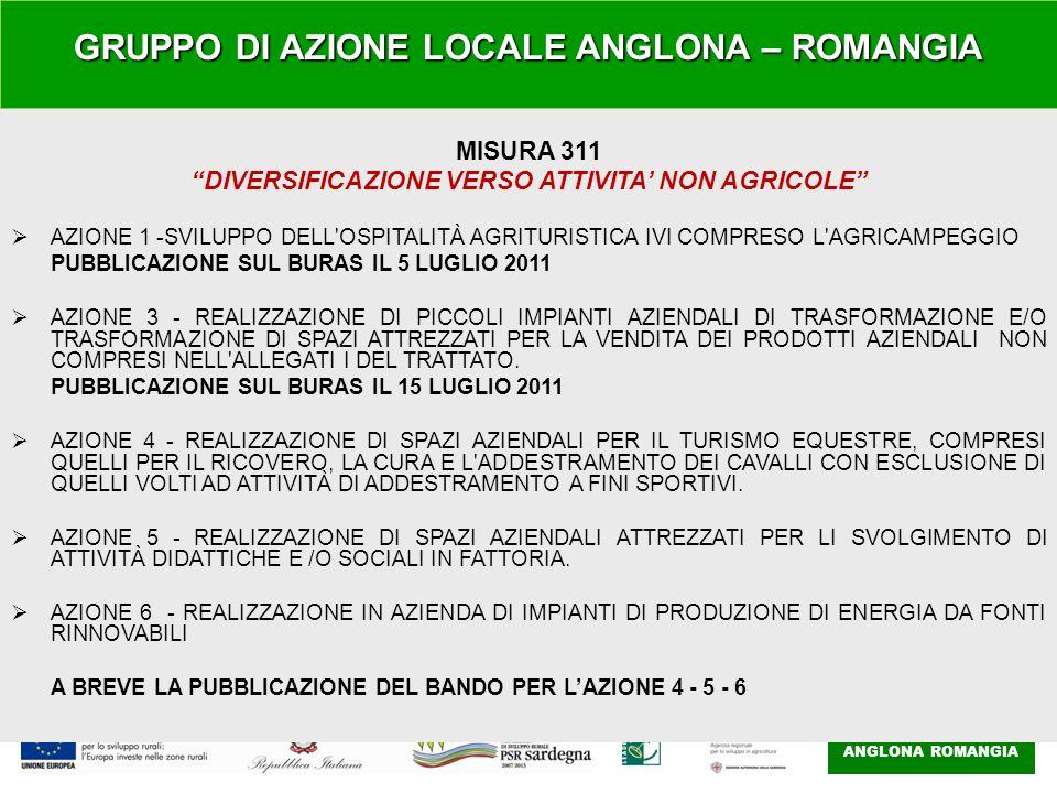 GAL ANGLONA ROMANGIA MISURA 311 DIVERSIFICAZIONE VERSO ATTIVITA NON AGRICOLE AZIONE 1 -SVILUPPO DELL OSPITALITÀ AGRITURISTICA IVI COMPRESO L AGRICAMPEGGIO PUBBLICAZIONE SUL BURAS IL 5 LUGLIO 2011 AZIONE 3 - REALIZZAZIONE DI PICCOLI IMPIANTI AZIENDALI DI TRASFORMAZIONE E/O TRASFORMAZIONE DI SPAZI ATTREZZATI PER LA VENDITA DEI PRODOTTI AZIENDALI NON COMPRESI NELL ALLEGATI I DEL TRATTATO.