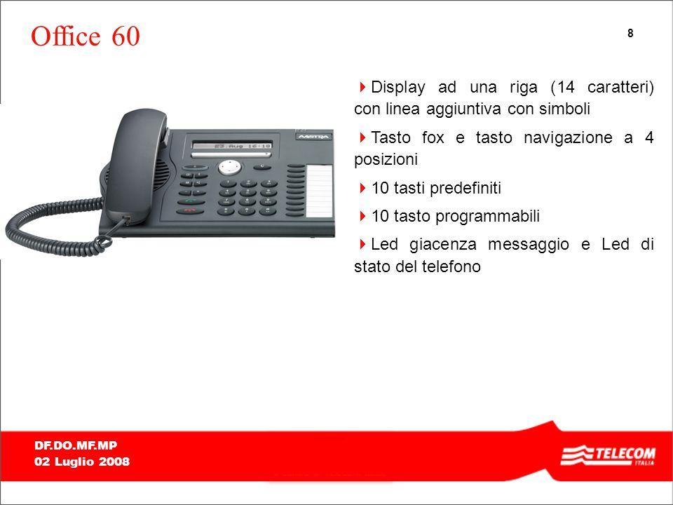 8 DF.DO.MF.MP 02 Luglio 2008 Office 60 Display ad una riga (14 caratteri) con linea aggiuntiva con simboli Tasto fox e tasto navigazione a 4 posizioni 10 tasti predefiniti 10 tasto programmabili Led giacenza messaggio e Led di stato del telefono