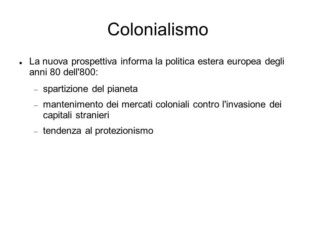 Colonialismo La nuova prospettiva informa la politica estera europea degli anni 80 dell 800: spartizione del pianeta mantenimento dei mercati coloniali contro l invasione dei capitali stranieri tendenza al protezionismo