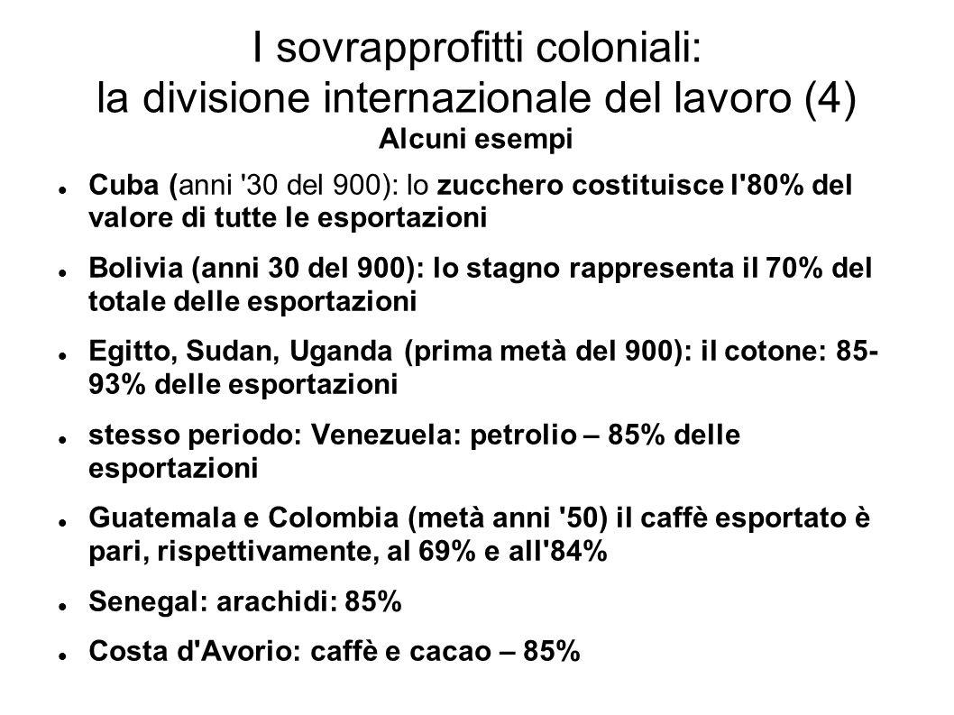 I sovrapprofitti coloniali: la divisione internazionale del lavoro (4) Alcuni esempi Cuba (anni 30 del 900): lo zucchero costituisce l 80% del valore di tutte le esportazioni Bolivia (anni 30 del 900): lo stagno rappresenta il 70% del totale delle esportazioni Egitto, Sudan, Uganda (prima metà del 900): il cotone: 85- 93% delle esportazioni stesso periodo: Venezuela: petrolio – 85% delle esportazioni Guatemala e Colombia (metà anni 50) il caffè esportato è pari, rispettivamente, al 69% e all 84% Senegal: arachidi: 85% Costa d Avorio: caffè e cacao – 85%