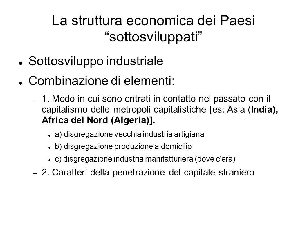 La struttura economica dei Paesi sottosviluppati Sottosviluppo industriale Combinazione di elementi: 1.