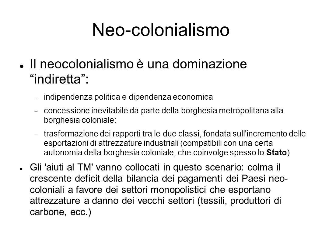 Neo-colonialismo Il neocolonialismo è una dominazione indiretta: indipendenza politica e dipendenza economica concessione inevitabile da parte della borghesia metropolitana alla borghesia coloniale: trasformazione dei rapporti tra le due classi, fondata sull incremento delle esportazioni di attrezzature industriali (compatibili con una certa autonomia della borghesia coloniale, che coinvolge spesso lo Stato) Gli aiuti al TM vanno collocati in questo scenario: colma il crescente deficit della bilancia dei pagamenti dei Paesi neo- coloniali a favore dei settori monopolistici che esportano attrezzature a danno dei vecchi settori (tessili, produttori di carbone, ecc.)