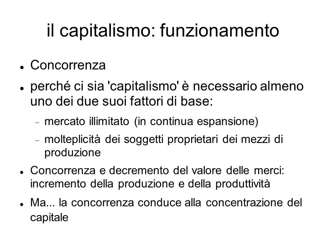il capitalismo: funzionamento Concorrenza perché ci sia capitalismo è necessario almeno uno dei due suoi fattori di base: mercato illimitato (in continua espansione) molteplicità dei soggetti proprietari dei mezzi di produzione Concorrenza e decremento del valore delle merci: incremento della produzione e della produttività Ma...