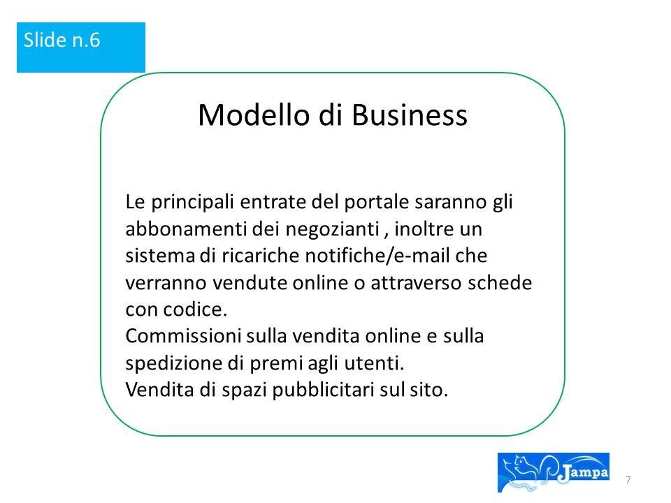 Modello di Business Le principali entrate del portale saranno gli abbonamenti dei negozianti, inoltre un sistema di ricariche notifiche/e-mail che verranno vendute online o attraverso schede con codice.