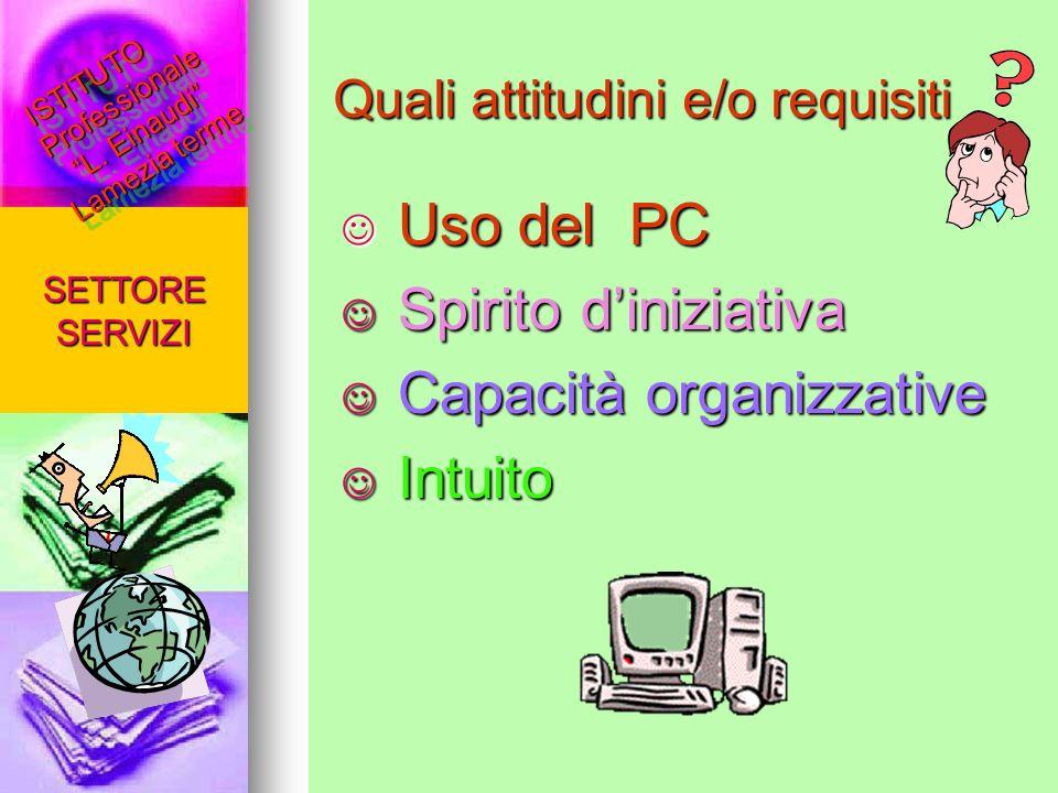 Quali attitudini e/o requisiti Uso del PC Uso del PC Spirito diniziativa Spirito diniziativa Capacità organizzative Capacità organizzative Intuito Int