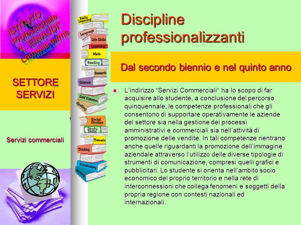 Discipline professionalizzanti Lindirizzo Servizi Commerciali ha lo scopo di far acquisire allo studente, a conclusione del percorso quinquennale, le