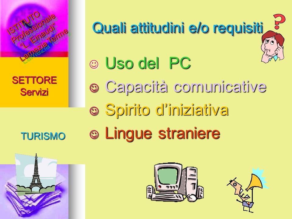 Quali attitudini e/o requisiti SETTORE Servizi TURISMO Uso del PC Uso del PC Capacità comunicative Capacità comunicative Spirito diniziativa Spirito d