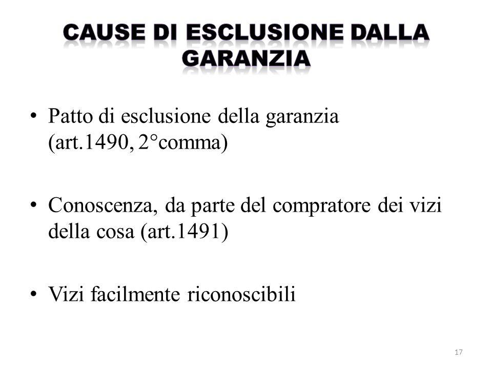 Patto di esclusione della garanzia (art.1490, 2°comma) Conoscenza, da parte del compratore dei vizi della cosa (art.1491) Vizi facilmente riconoscibili 17