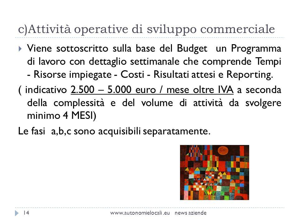 c)Attività operative di sviluppo commerciale www.autonomielocali.eu news aziende14 Viene sottoscritto sulla base del Budget un Programma di lavoro con dettaglio settimanale che comprende Tempi - Risorse impiegate - Costi - Risultati attesi e Reporting.