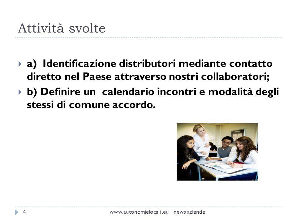 Attività svolte www.autonomielocali.eu news aziende4 a) Identificazione distributori mediante contatto diretto nel Paese attraverso nostri collaborato