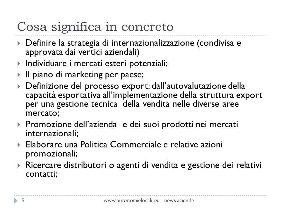 Cosa significa in concreto www.autonomielocali.eu news aziende9 Definire la strategia di internazionalizzazione (condivisa e approvata dai vertici azi