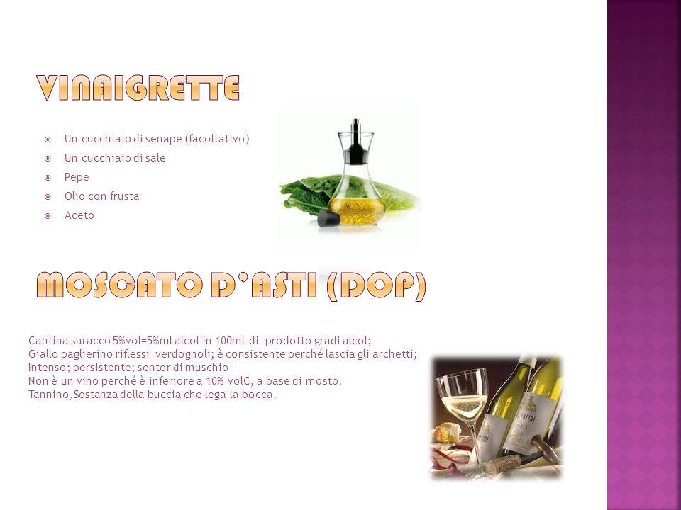 Un cucchiaio di senape (facoltativo) Un cucchiaio di sale Pepe Olio con frusta Aceto Cantina saracco 5%vol=5%ml alcol in 100ml di prodotto gradi alcol; Giallo paglierino riflessi verdognoli; è consistente perché lascia gli archetti; Intenso; persistente; sentor di muschio Non è un vino perché è inferiore a 10% volC, a base di mosto.