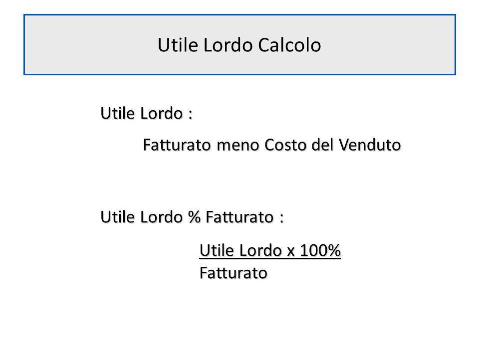 Utile Lordo Calcolo Utile Lordo : Fatturato meno Costo del Venduto Utile Lordo % Fatturato : Utile Lordo x 100% Fatturato