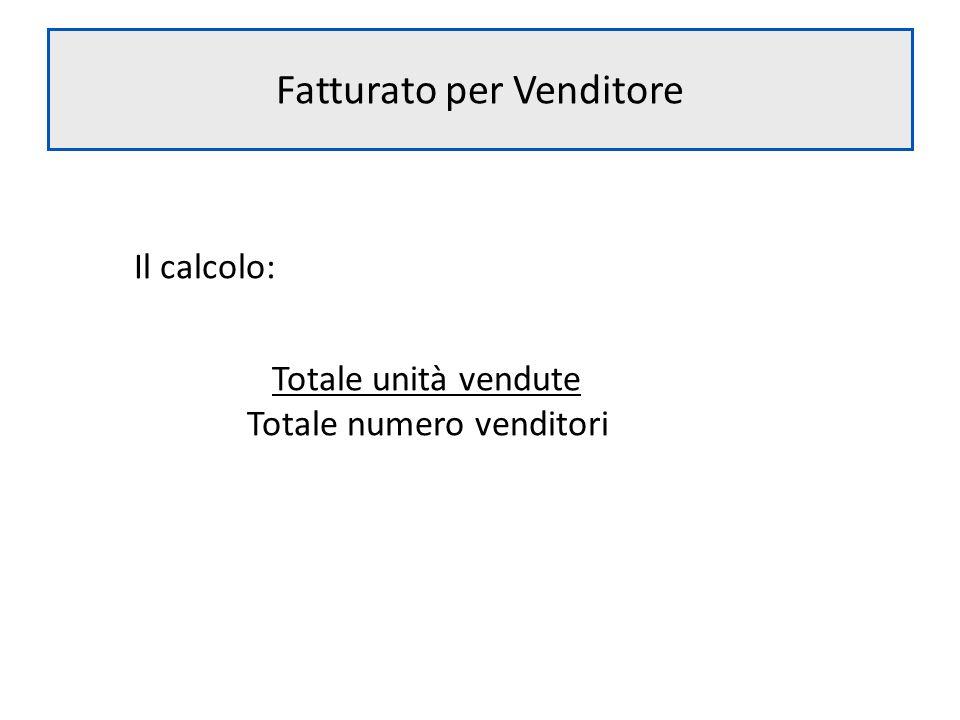 Fatturato per Venditore Il calcolo: Totale unità vendute Totale numero venditori