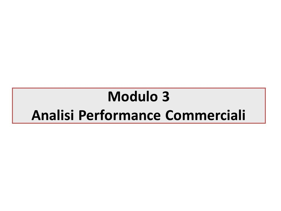 Modulo 3 Analisi Performance Commerciali